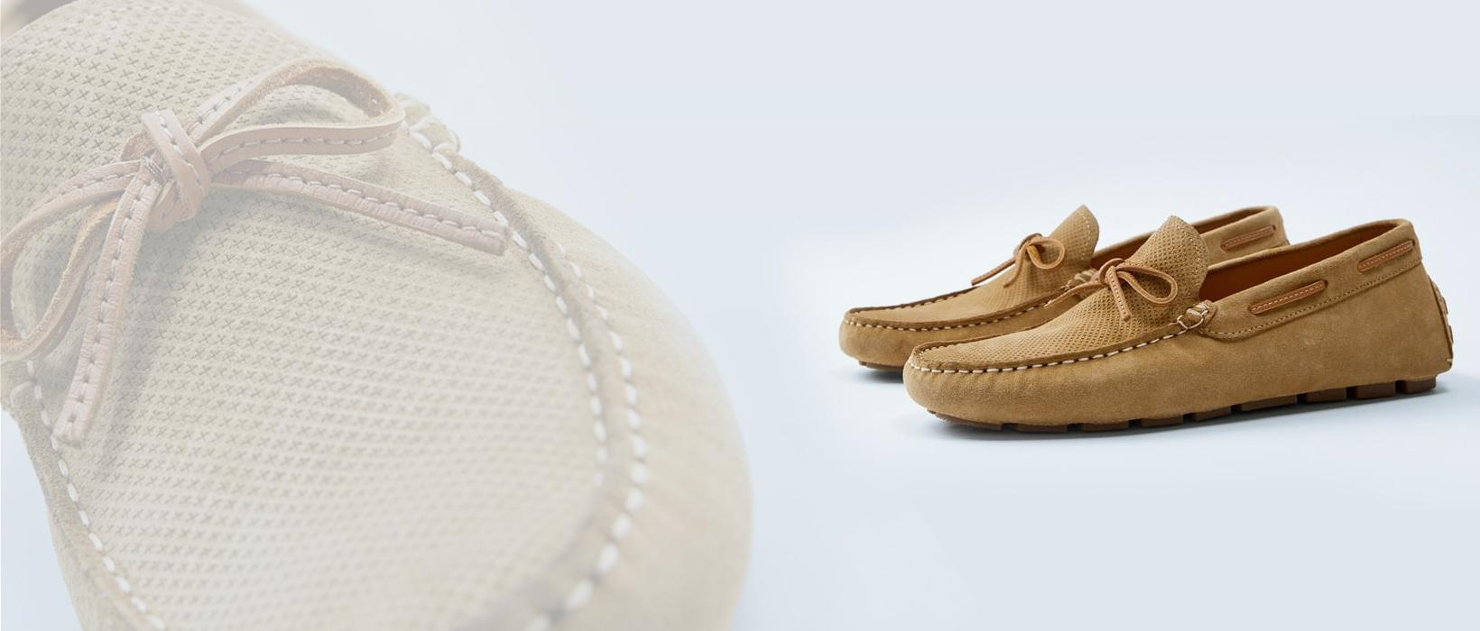 BEIGE LEATHER DRIVING MOCCASINS